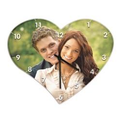 Horloge murale en verre coeur