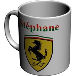 Mug Tasse Logo Ferrari personnalisé avec prénom